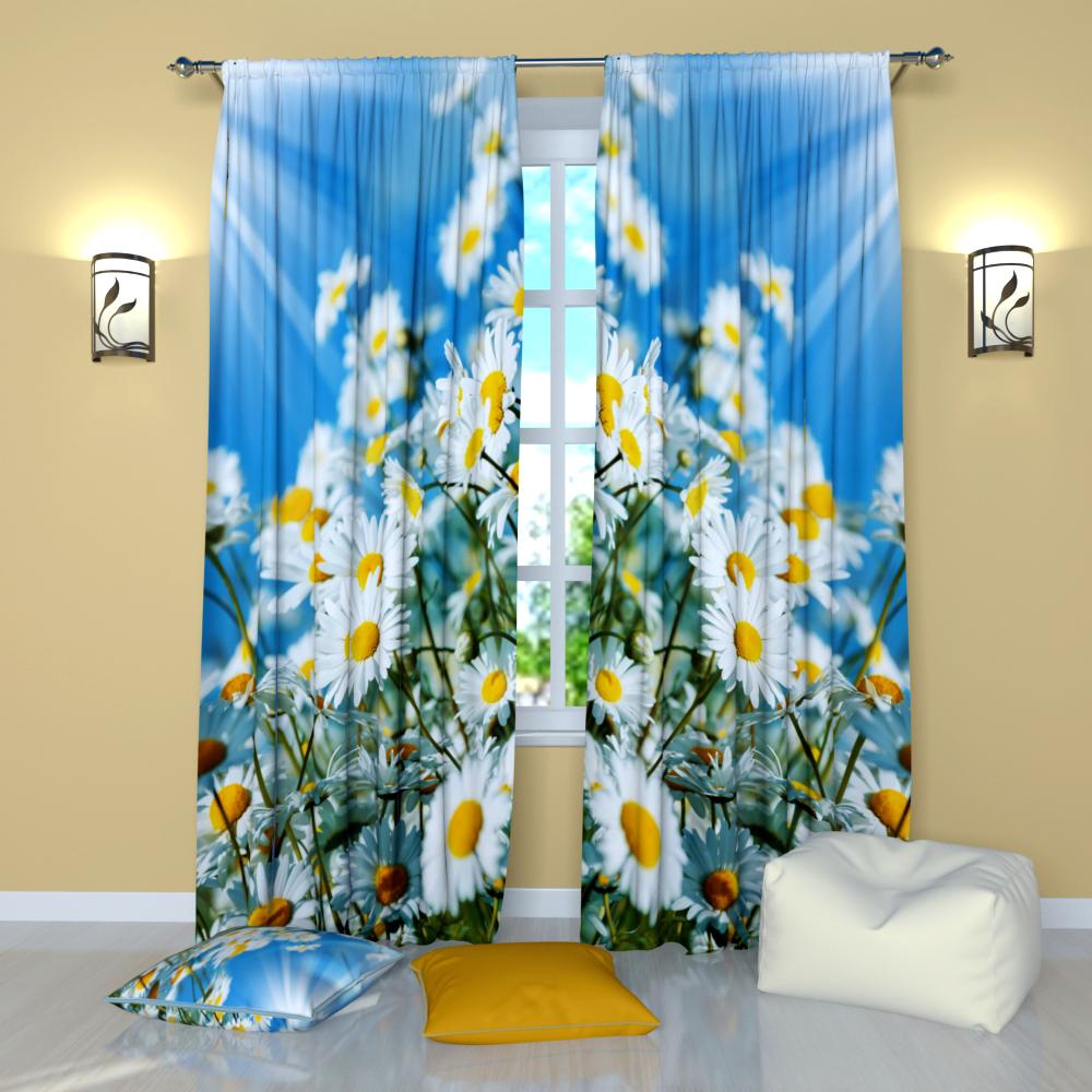 Window Curtains - White Daisies